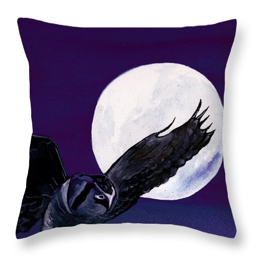 Landscape Throw Pillow featuring the painting Night Flight by Brenda Owen