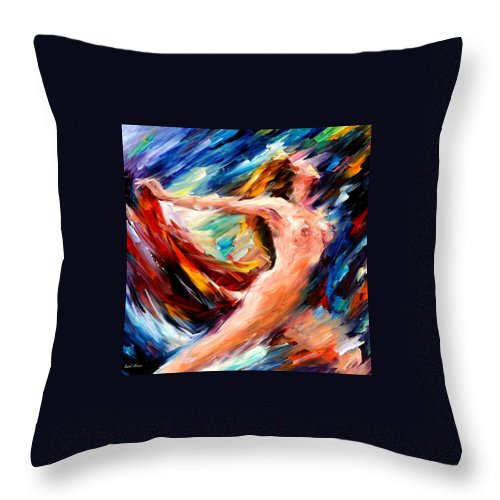 Nude Throw Pillow featuring the painting Night Flight by Leonid Afremov