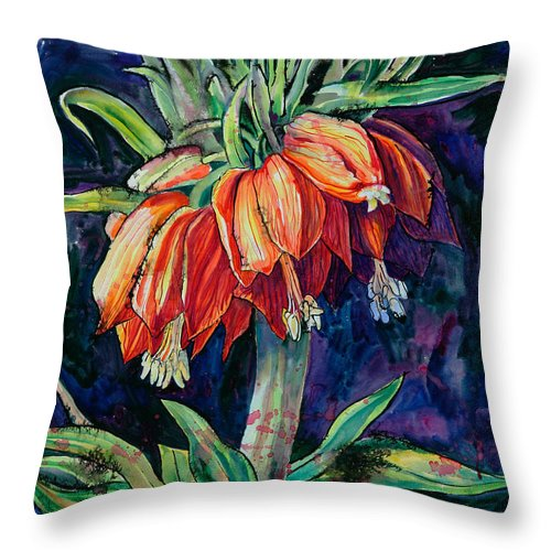 Flower Throw Pillow featuring the painting Night Flower by Yelena Tylkina