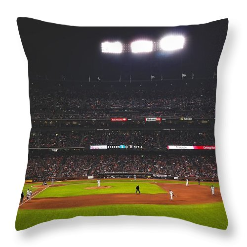 At&t Park Throw Pillow featuring the photograph Night Game by Adrian Bonifacio