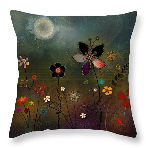 Digital Art Throw Pillow featuring the digital art Night Garden by Bernie Lee