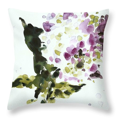 Watercolor Throw Pillow featuring the painting Night Geraniums by C'est La Viv