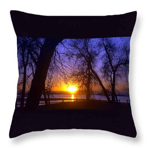 Barr Lake Throw Pillow featuring the photograph Night In Barr Lake Colorado by Merja Waters