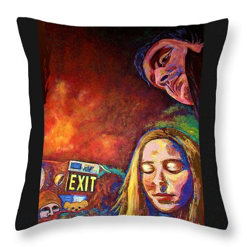 Girl Portrait Throw Pillow featuring the painting Night In The City by Frances Gillotti