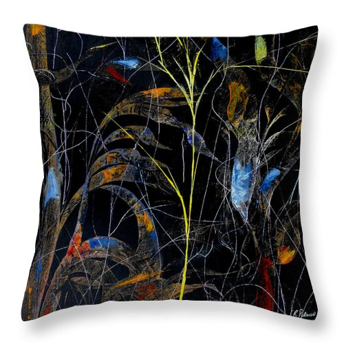 Abstract Throw Pillow featuring the painting Night Life by Ruth Palmer