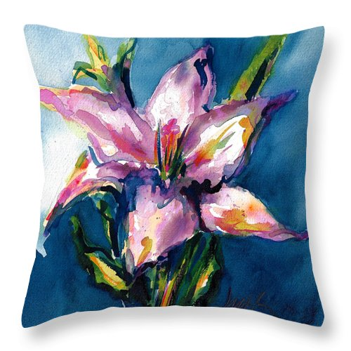 Pink Lily Throw Pillow featuring the painting Night Lily by Jacki Kellum