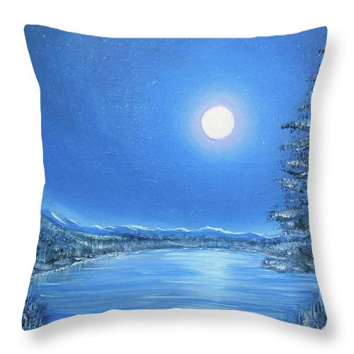 Night Throw Pillow featuring the painting Night Moon by Lisa Cini