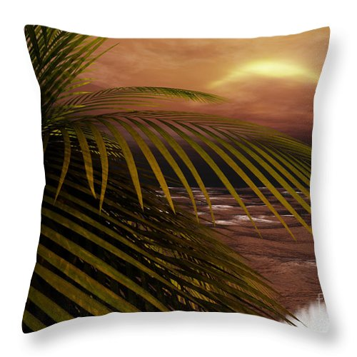 Tropical Throw Pillow featuring the digital art Night Moves by Richard Rizzo