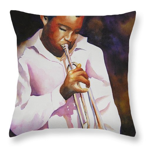 Trumpet Throw Pillow featuring the painting Night Music by Karen Stark
