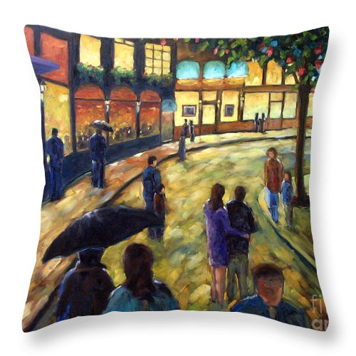 Cityscape Throw Pillow featuring the painting Night On The Town by Richard T Pranke