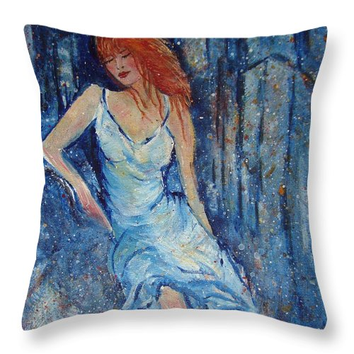 Figure Throw Pillow featuring the painting Night On The Town by Robin Monroe