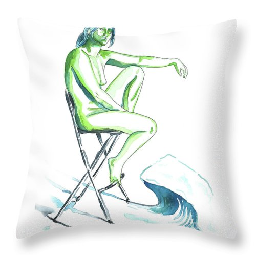 Artistic Nude; Female Nude Throw Pillow featuring the painting Wave by D Renee Wilson