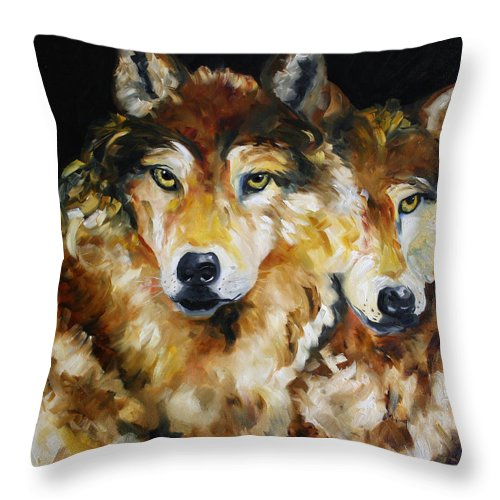 Wolves Throw Pillow featuring the painting Night Power by Laurie Pace