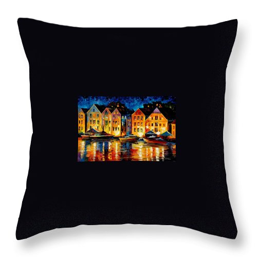 City Throw Pillow featuring the painting Night Resting Original Oil Painting by Leonid Afremov