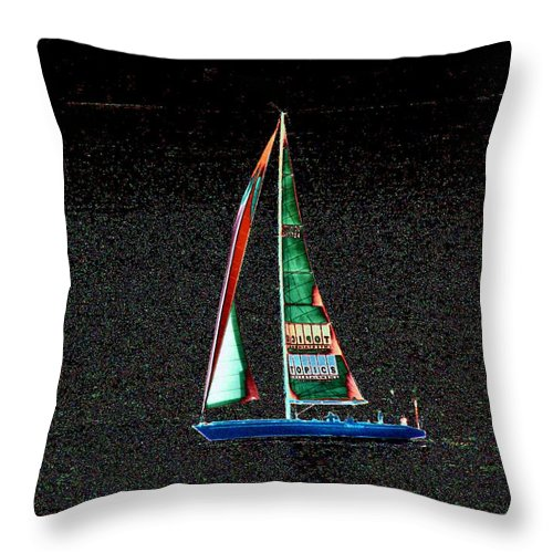Seattle Throw Pillow featuring the photograph Night Sail 2 by Tim Allen