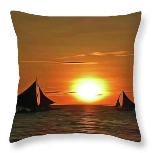 Night Sail Throw Pillow featuring the painting Night Sail by Harry Warrick
