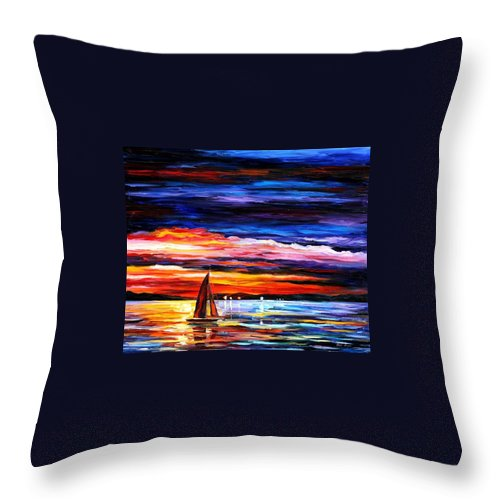 Seascape Throw Pillow featuring the painting Night Sea by Leonid Afremov