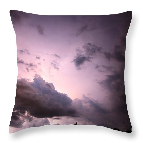 Lightning Throw Pillow featuring the photograph Night Storm by Amanda Barcon
