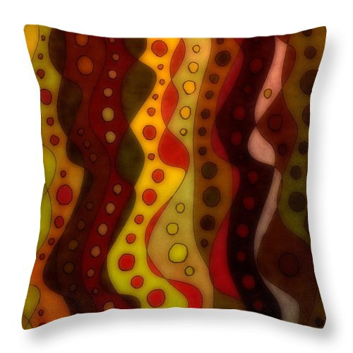 Abstract Lines Circles Red Brown Yellow Susan Epps Oliver Original Throw Pillow featuring the mixed media Night Thoughts by Susan Epps Oliver