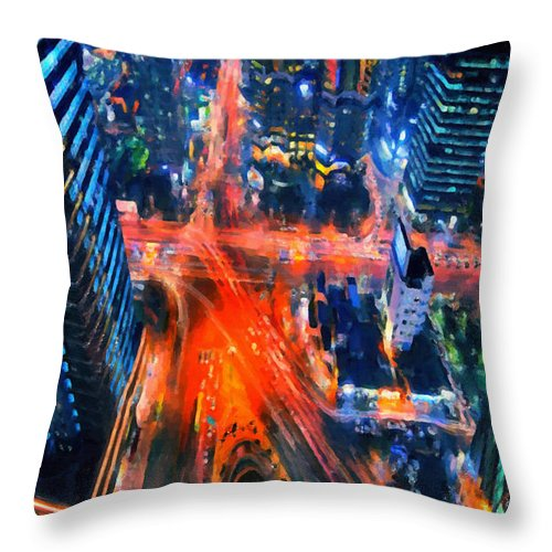 Seoul Throw Pillow featuring the painting Night Traffic by Jeelan Clark