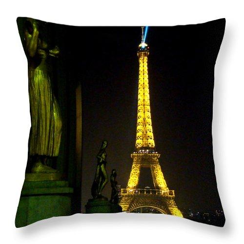 Al Bourassa Throw Pillow featuring the photograph Night Vision - Eiffel Beauty by Al Bourassa