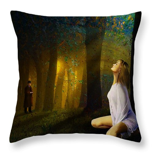 Night Throw Pillow featuring the painting Night Vision by Van Renselar