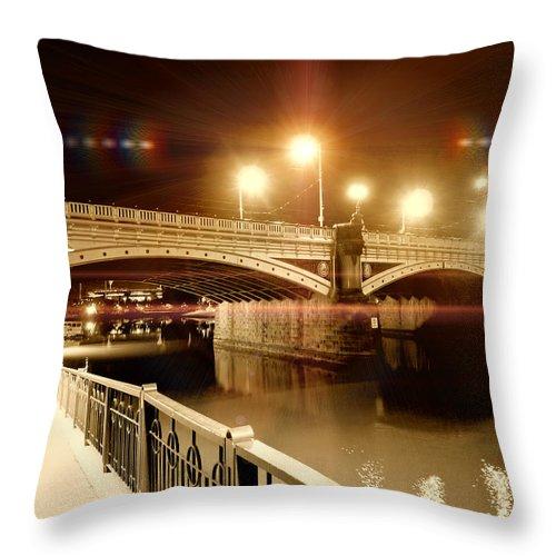 Bridge Throw Pillow featuring the photograph Night Walk by Douglas Barnard