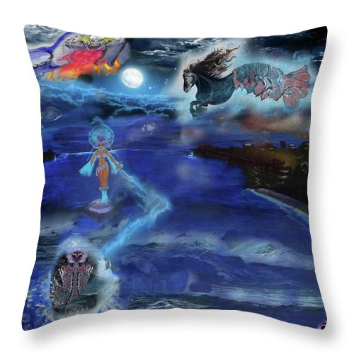 Throw Pillow featuring the mixed media Night Walk by Subbora Jackson