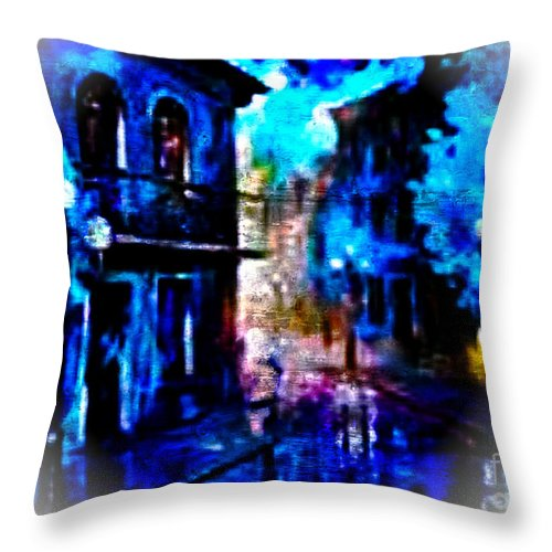 French Quarter Throw Pillow featuring the digital art Night Walking In New Orleans by Rod Jellison
