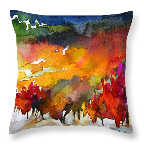 Watercolour Throw Pillow featuring the painting Nightfall 06 by Miki De Goodaboom