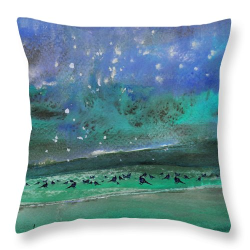 Impressionism Throw Pillow featuring the painting Nightfall 25 by Miki De Goodaboom