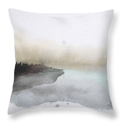 Seascape Throw Pillow featuring the painting Nightfall on the Lake by Vesna Antic