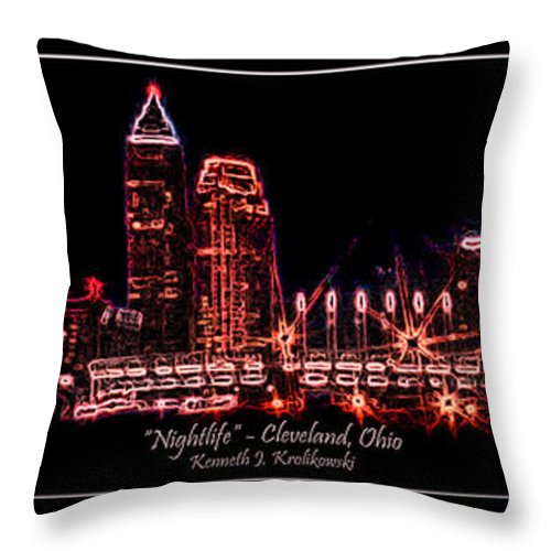 Cleveland Throw Pillow featuring the photograph Nightlife by Kenneth Krolikowski