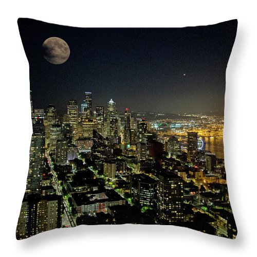 Moon Throw Pillow featuring the photograph Nightlights Seattle Washington by Betsy Knapp