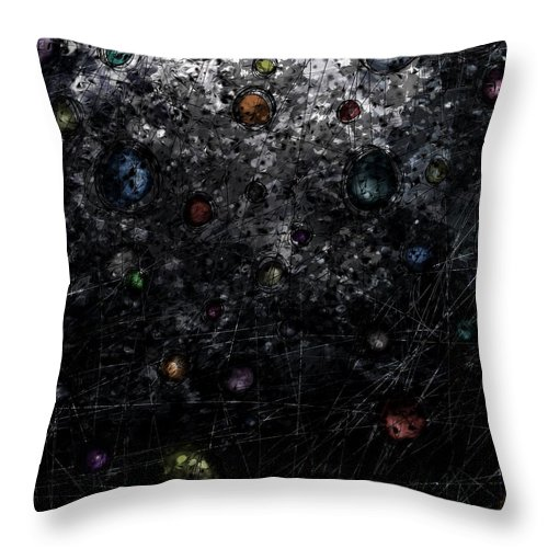 Abstract Throw Pillow featuring the digital art Nightmare Catcher by Rachel Christine Nowicki