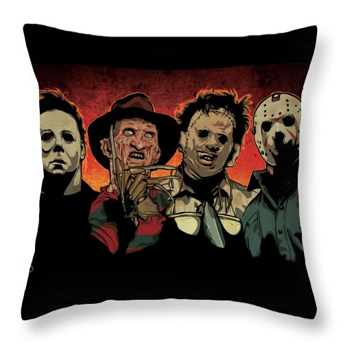 Michael Myers Throw Pillow featuring the drawing Nightmare by Miggs The Artist