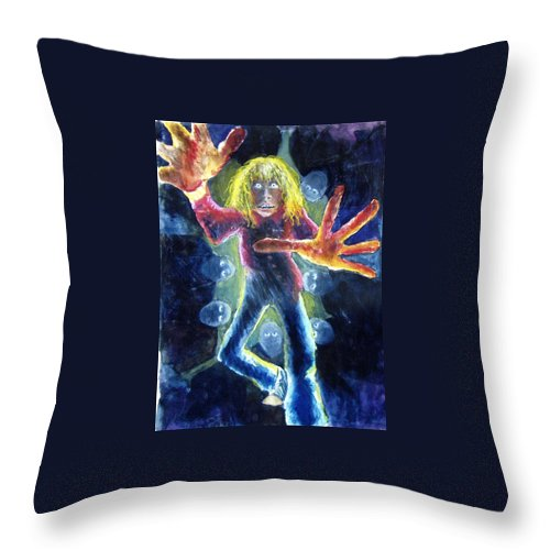 Nightmare Throw Pillow featuring the painting Nightmare by Nancy Mueller