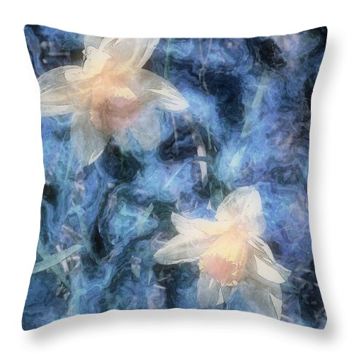 Daffodils Throw Pillow featuring the painting Nighttime Narcissus by RC DeWinter