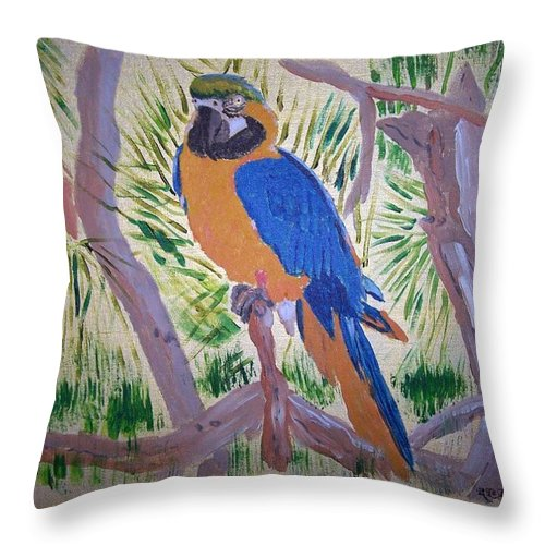 Bird Throw Pillow featuring the painting Nikki by Richard Le Page
