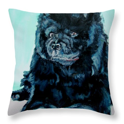Dog Throw Pillow featuring the painting Nikki The Chow by Bryan Bustard