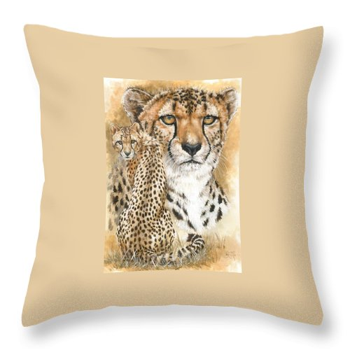 Cheetah Throw Pillow featuring the mixed media Nimble by Barbara Keith