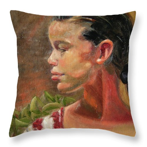 Mexico Throw Pillow featuring the painting Nina de Trenza by Lilibeth Andre