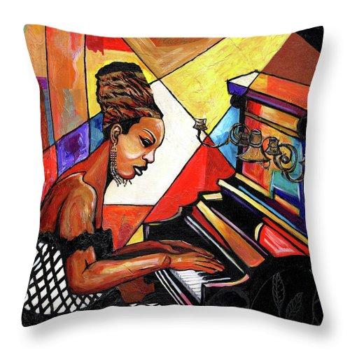 Everett Spruill Throw Pillow featuring the mixed media Nina Simone by Everett Spruill