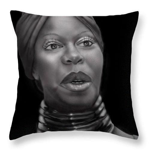 Nina Simone Throw Pillow featuring the painting Nina Simone-revolution by Reggie Duffie