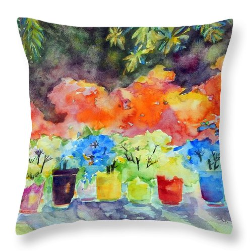 Landscape Throw Pillow featuring the painting 9 Potted Plants by Caroline Patrick