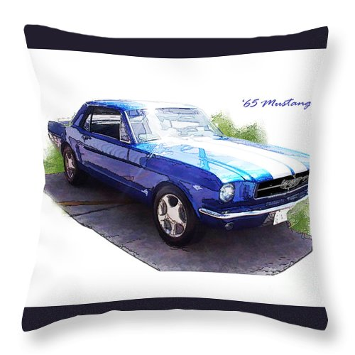 1965 Throw Pillow featuring the digital art Nineteen Sixty-five Mustang by Margie Middleton