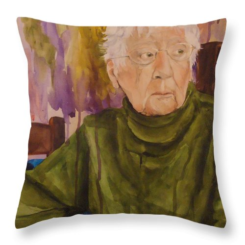 Portrait Throw Pillow featuring the painting Ninety Years Young by Jean Blackmer