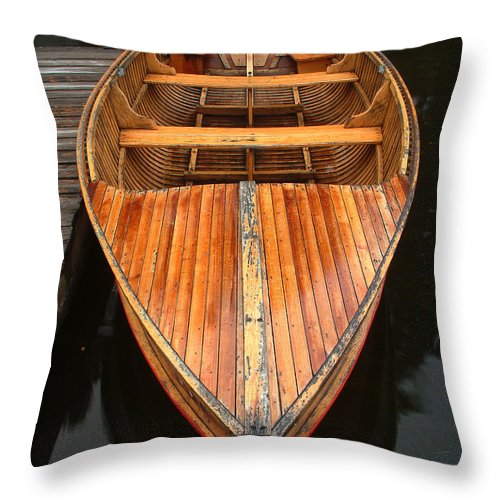 Cedar Strip Boat Throw Pillow featuring the photograph Nipissing Boat by Linda McRae