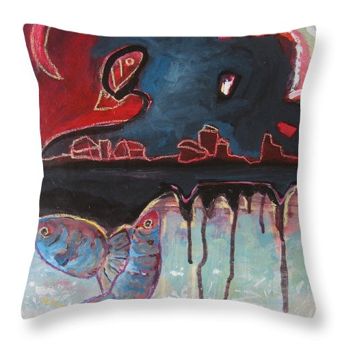 Abstract Paintings Throw Pillow featuring the painting Nipper by Seon-Jeong Kim