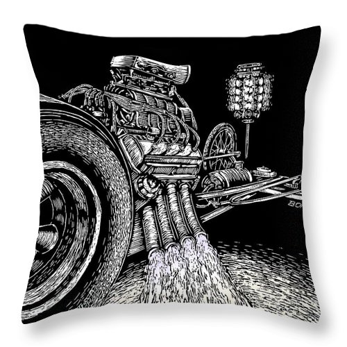 Drag Racing Throw Pillow featuring the drawing Nitro Burn by Bomonster